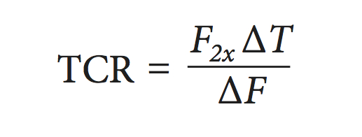 Equation for estimating the TCR from Otto et al. (2013).