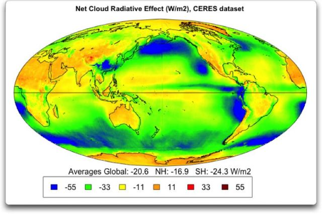 An illustration showing the net radiative forcing due to clouds from CERES data (credit : Willis Eschenbach, WUWT).